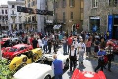After the sealiing at the Piazza dello Loggia , cars enter Via X Giornate - 1000 Miglia Village for the exhibtion.